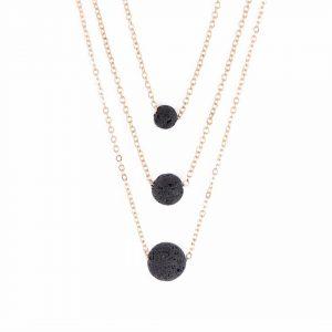 Afrodite smykke med tre lavasteiner til essensielle oljer i tre sammenhengende kjeder