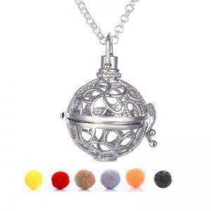 Afrodite smykke pendel med lavastein og 5 «puter» til essensielle oljer