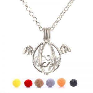 Afrodite smykke pendel vinger med lavastein og 5 «puter» til essensielle oljer